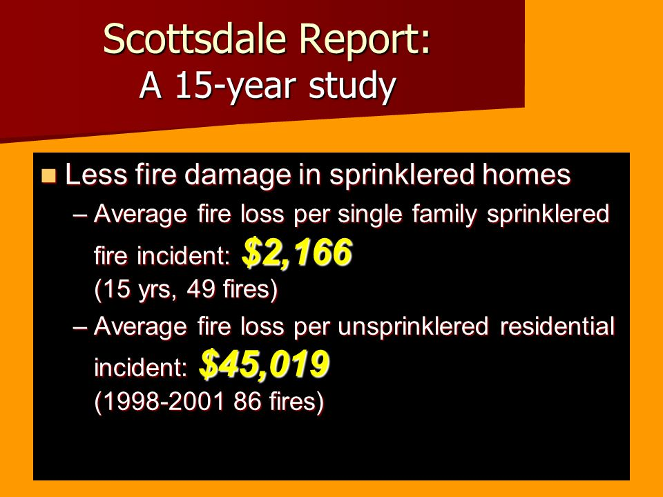 Scottsdale Report: A 15-year study Less fire damage in sprinklered homes Less fire damage in sprinklered homes –Average fire loss per single family sprinklered fire incident: $2,166 (15 yrs, 49 fires) –Average fire loss per unsprinklered residential incident: $45,019 (1998-2001 86 fires)