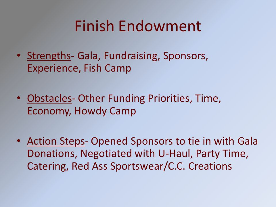Finish Endowment Strengths- Gala, Fundraising, Sponsors, Experience, Fish Camp Obstacles- Other Funding Priorities, Time, Economy, Howdy Camp Action Steps- Opened Sponsors to tie in with Gala Donations, Negotiated with U-Haul, Party Time, Catering, Red Ass Sportswear/C.C.
