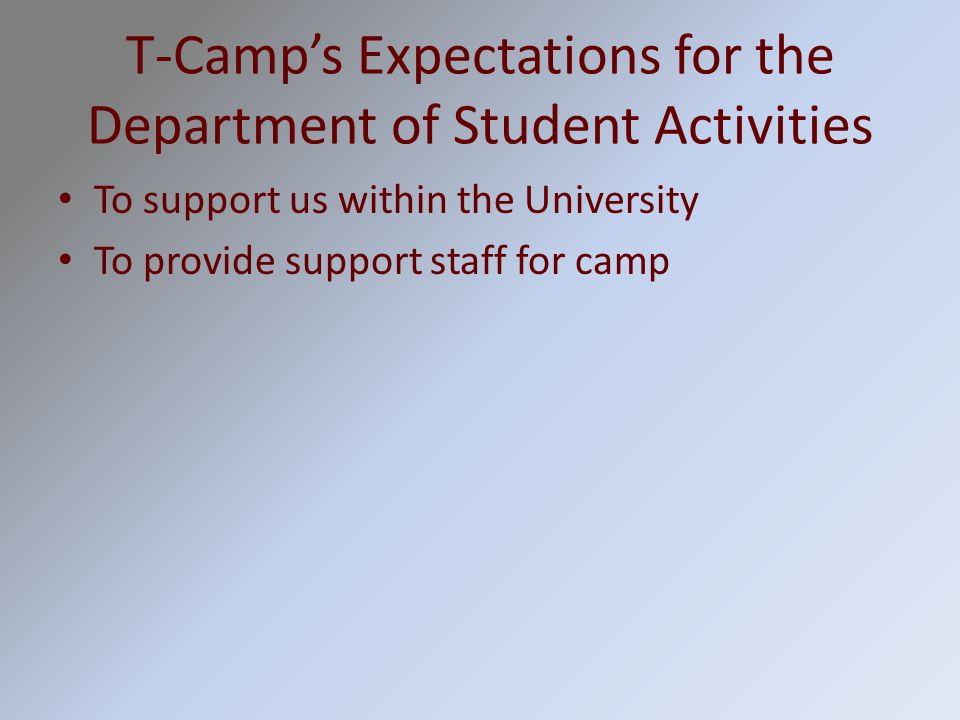 T-Camp's Expectations for the Department of Student Activities To support us within the University To provide support staff for camp