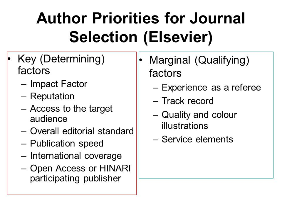 Author Priorities for Journal Selection (Elsevier) Key (Determining) factors –Impact Factor –Reputation –Access to the target audience –Overall editor
