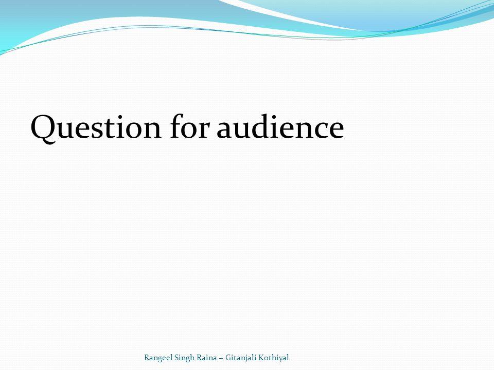 Question for audience Rangeel Singh Raina + Gitanjali Kothiyal
