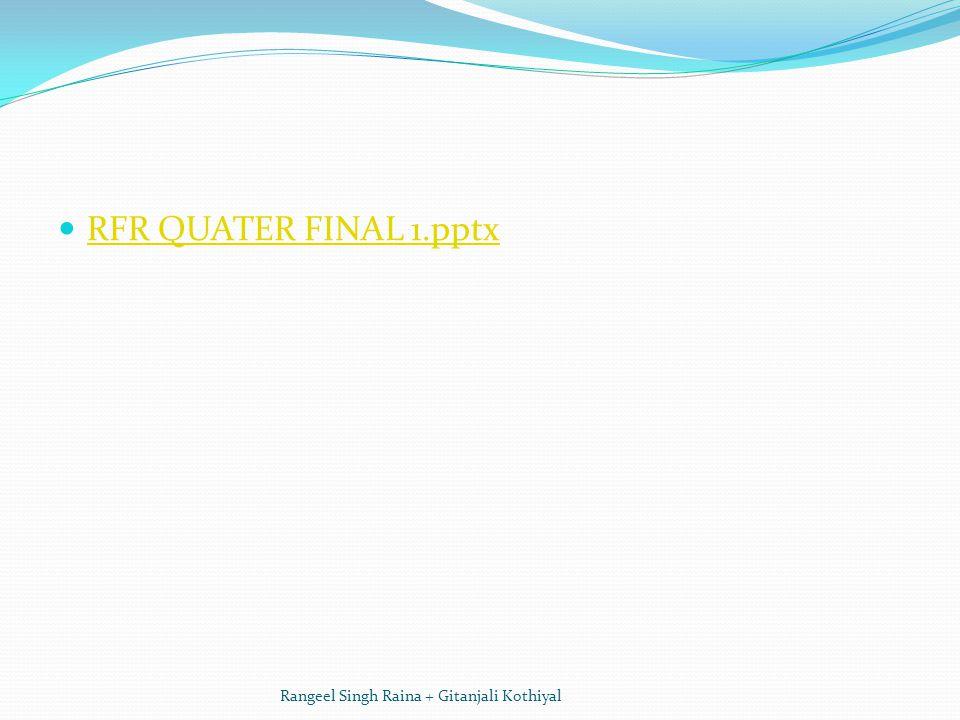 RFR QUATER FINAL 1.pptx Rangeel Singh Raina + Gitanjali Kothiyal