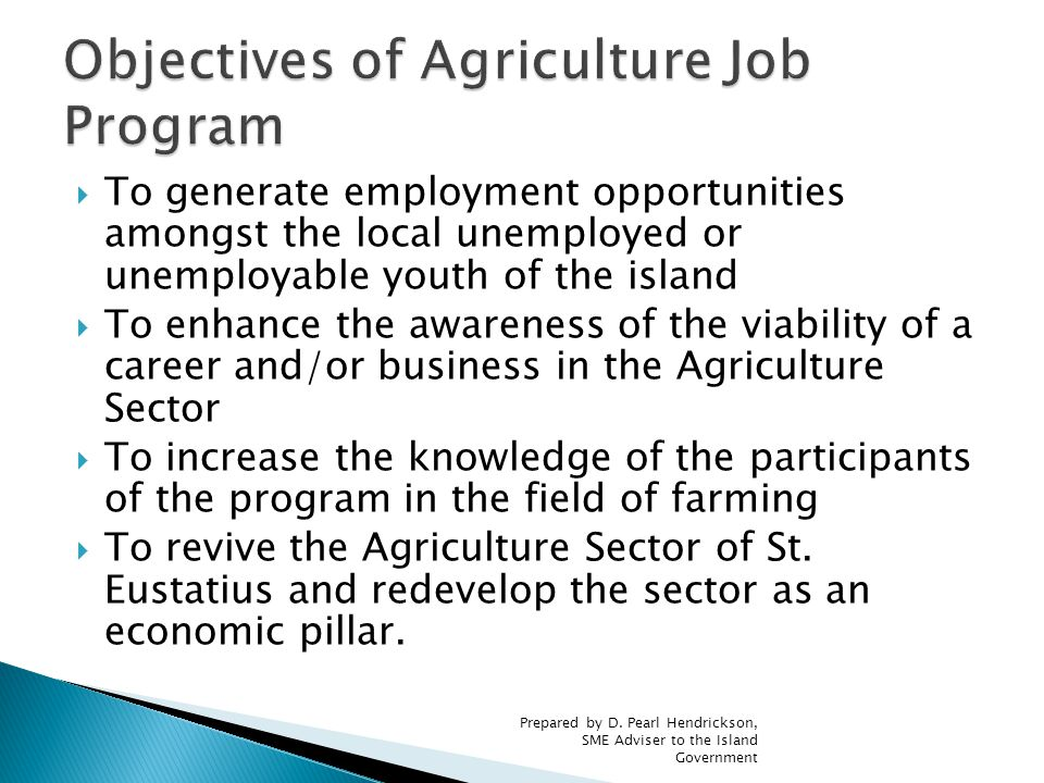  To generate employment opportunities amongst the local unemployed or unemployable youth of the island  To enhance the awareness of the viability of a career and/or business in the Agriculture Sector  To increase the knowledge of the participants of the program in the field of farming  To revive the Agriculture Sector of St.