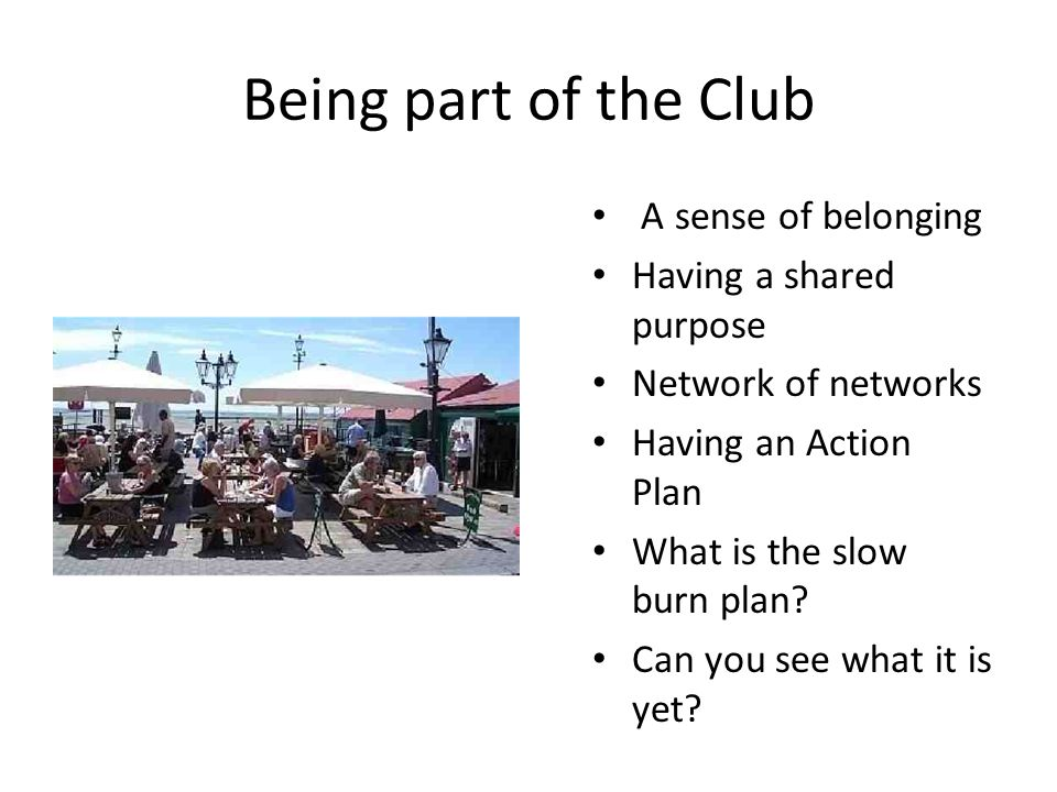 Being part of the Club A sense of belonging Having a shared purpose Network of networks Having an Action Plan What is the slow burn plan.