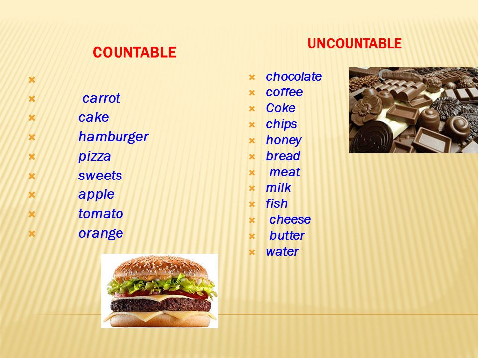 COUNTABLE UNCOUNTABLE  chocolate  coffee  Coke  chips  honey  bread  meat  milk  fish  cheese  butter  water   carrot  cake  hamburger  pizza  sweets  apple  tomato  orange