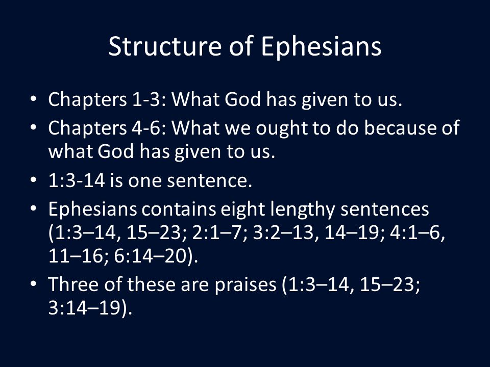 Structure of Ephesians Chapters 1-3: What God has given to us.