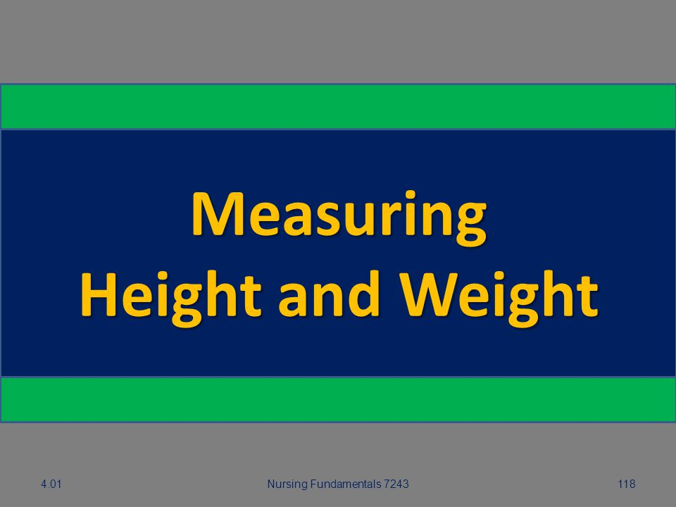 4.01Nursing Fundamentals 7243118 Measuring Height and Weight