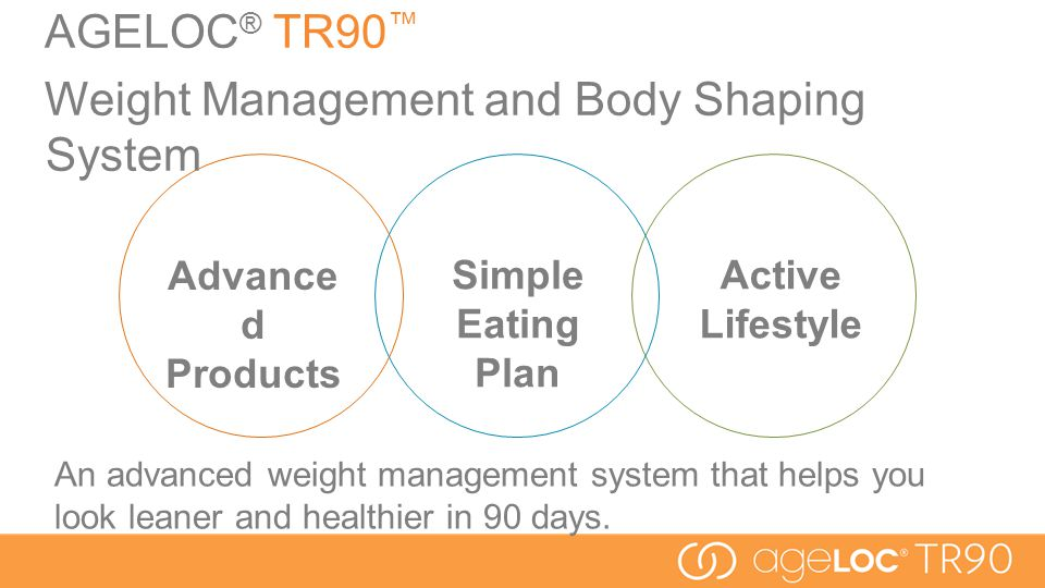 Simple Eating Plan AGELOC ® TR90 ™ Weight Management and Body Shaping System An advanced weight management system that helps you look leaner and healthier in 90 days.