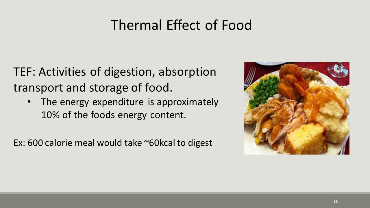 18 Thermal Effect of Food TEF: Activities of digestion, absorption transport and storage of food.