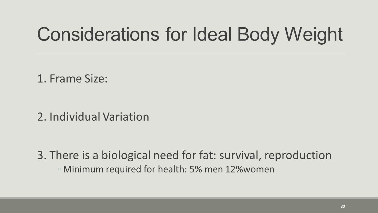 Considerations for Ideal Body Weight 1. Frame Size: 2.