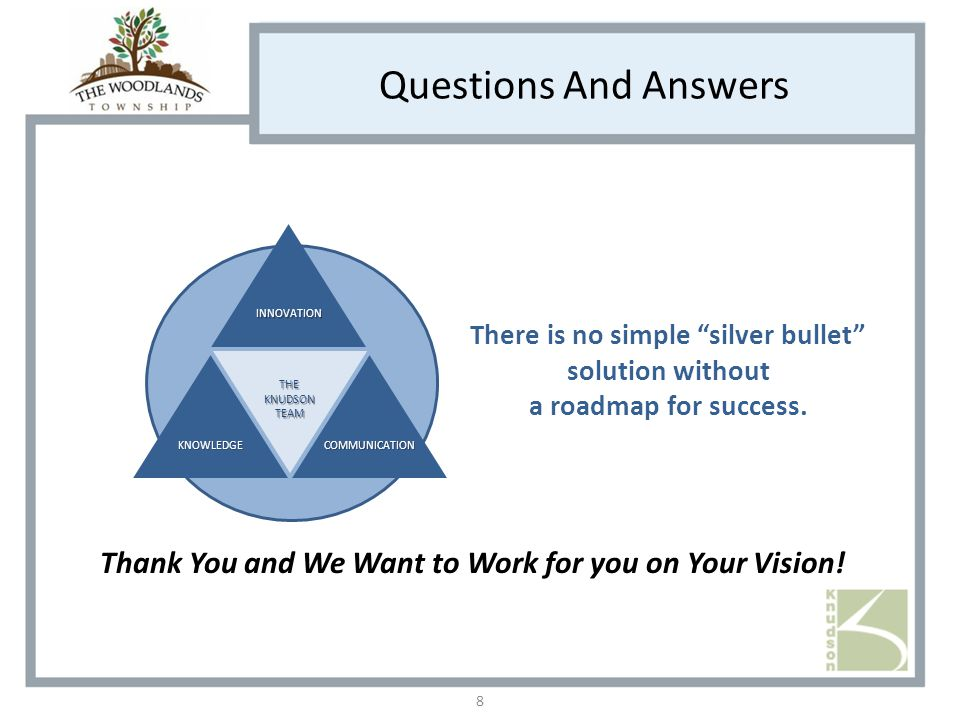 Questions And Answers Thank You and We Want to Work for you on Your Vision.