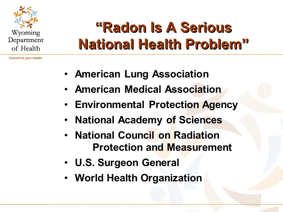 Radon Is A Serious National Health Problem American Lung Association American Medical Association Environmental Protection Agency National Academy of Sciences National Council on Radiation Protection and Measurement U.S.
