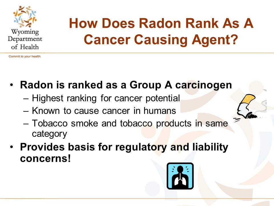 How Does Radon Rank As A Cancer Causing Agent? Radon is ranked as a Group A carcinogen –Highest ranking for cancer potential –Known to cause cancer in