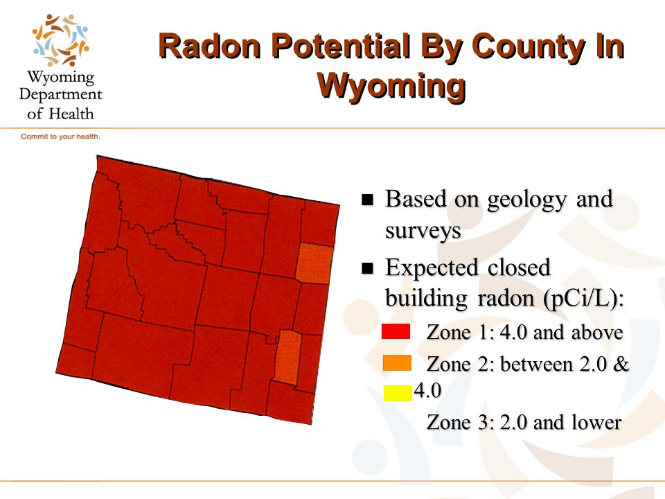 Radon Potential By County In Wyoming n Based on geology and surveys n Expected closed building radon (pCi/L): Zone 1: 4.0 and above Zone 1: 4.0 and ab