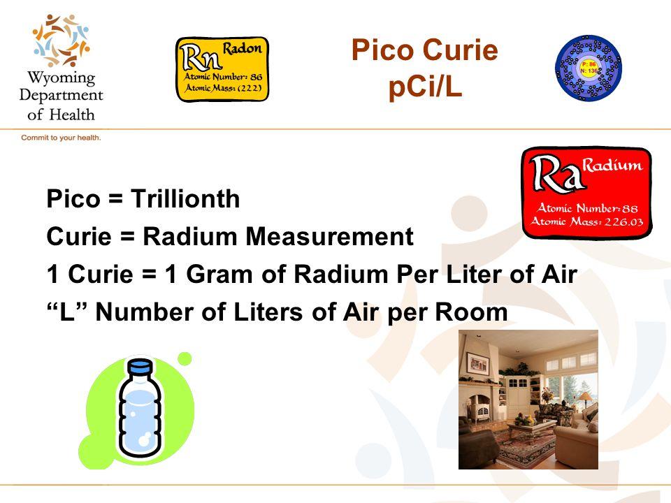 Pico Curie pCi/L Pico = Trillionth Curie = Radium Measurement 1 Curie = 1 Gram of Radium Per Liter of Air L Number of Liters of Air per Room