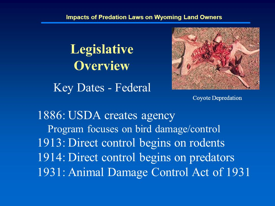 Impacts of Predation Laws on Wyoming Land Owners Legislative Overview Key Dates - Federal 1886: USDA creates agency Program focuses on bird damage/con