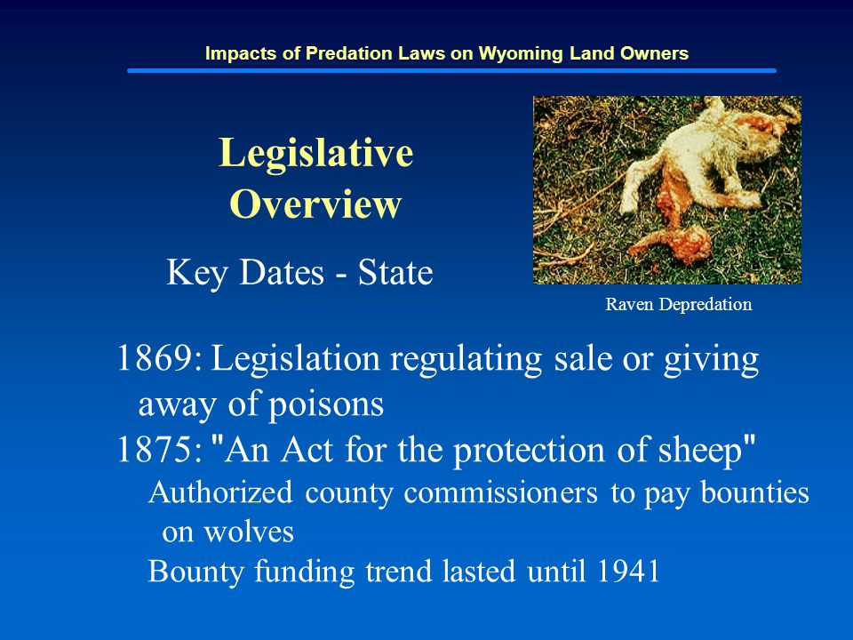 Impacts of Predation Laws on Wyoming Land Owners Legislative Overview Key Dates - State 1869: Legislation regulating sale or giving away of poisons 18