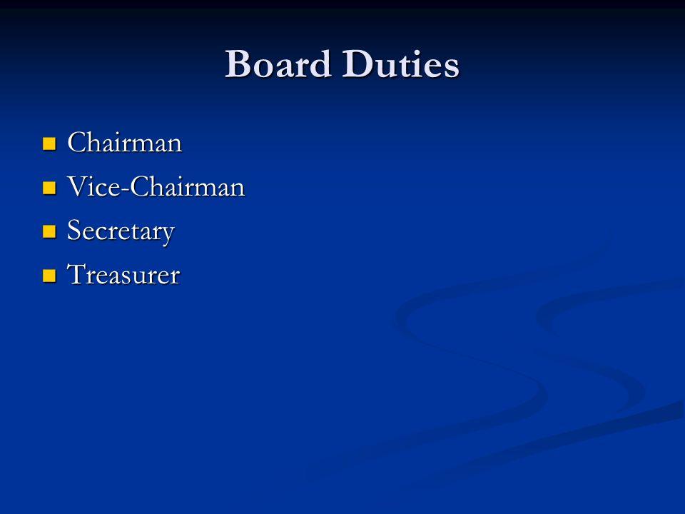 Board Duties Chairman Chairman Vice-Chairman Vice-Chairman Secretary Secretary Treasurer Treasurer