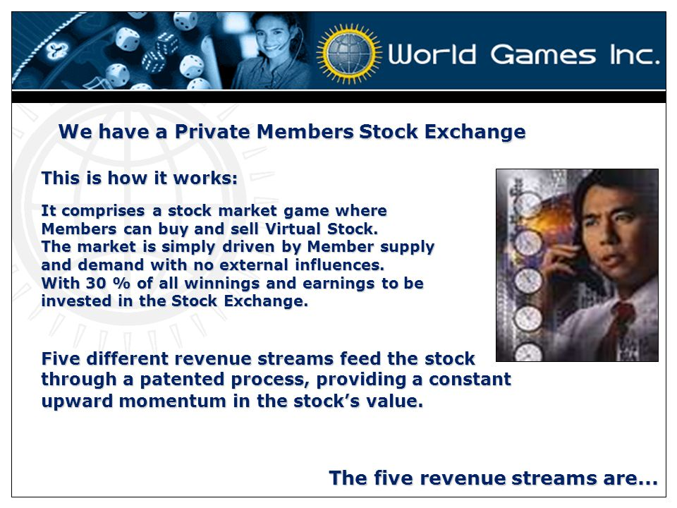 We have a Private Members Stock Exchange This is how it works: It comprises a stock market game where Members can buy and sell Virtual Stock.