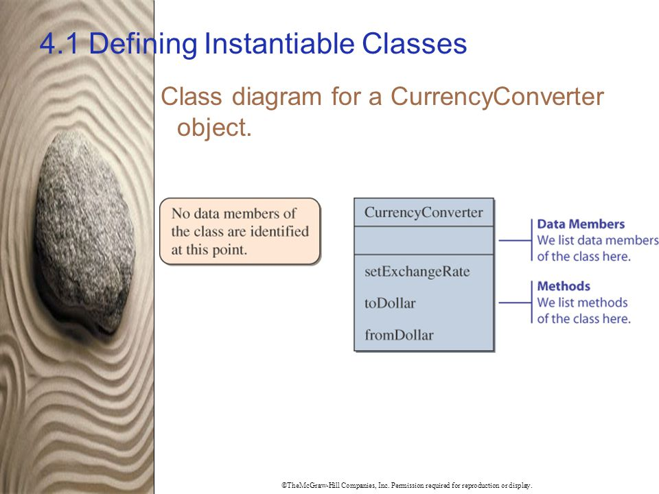 ©TheMcGraw-Hill Companies, Inc. Permission required for reproduction or display. 4.1 Defining Instantiable Classes Class diagram for a CurrencyConvert