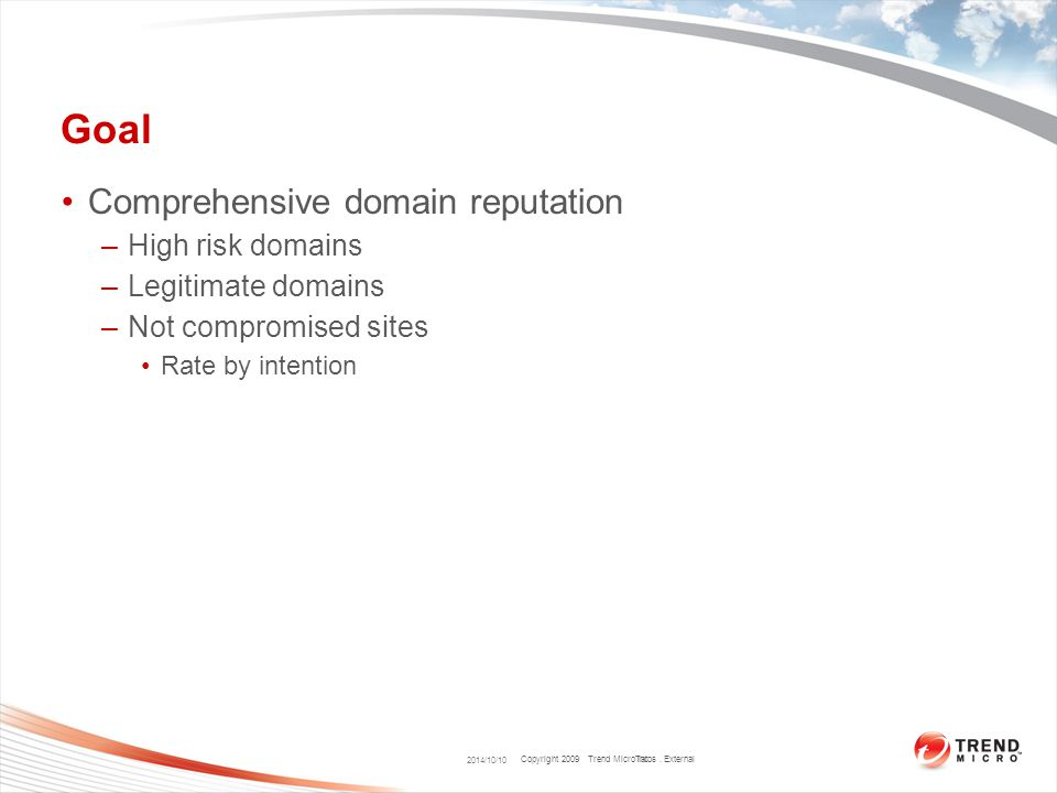Copyright 2009 Trend Micro Inc. Goal Comprehensive domain reputation –High risk domains –Legitimate domains –Not compromised sites Rate by intention 2