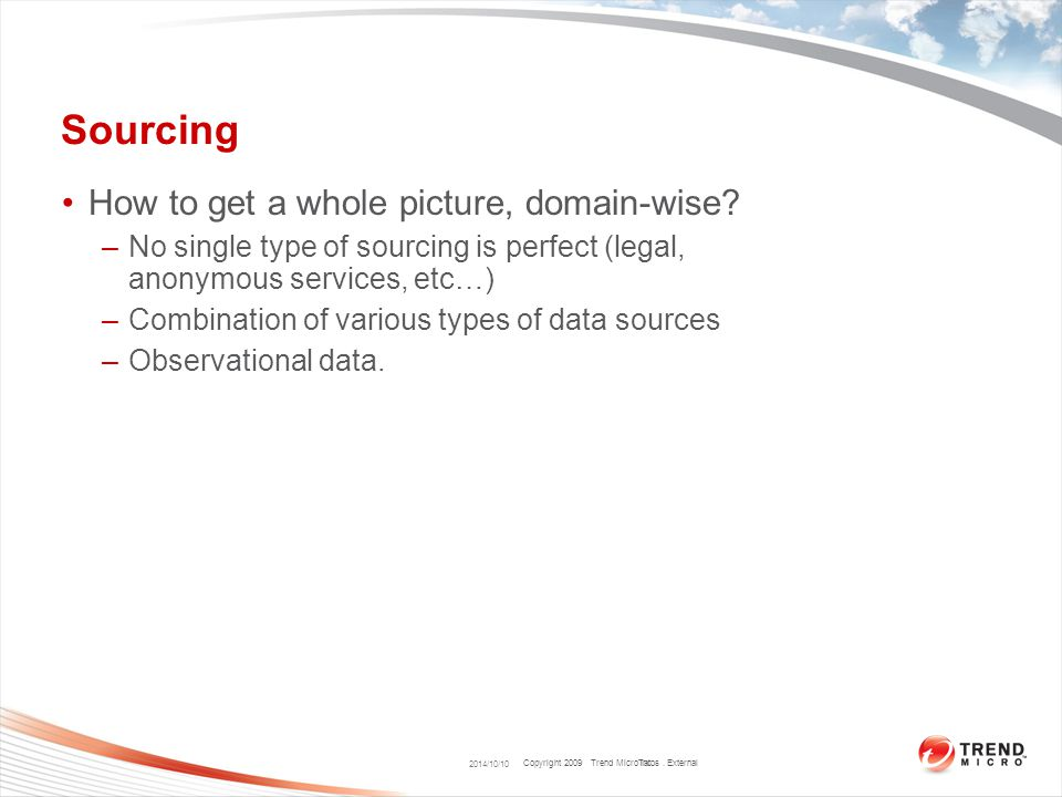 Copyright 2009 Trend Micro Inc. Sourcing How to get a whole picture, domain-wise? –No single type of sourcing is perfect (legal, anonymous services, e