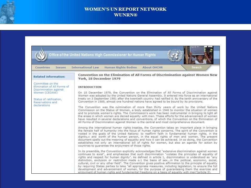 WOMEN'S UN REPORT NETWORK WUNRN®