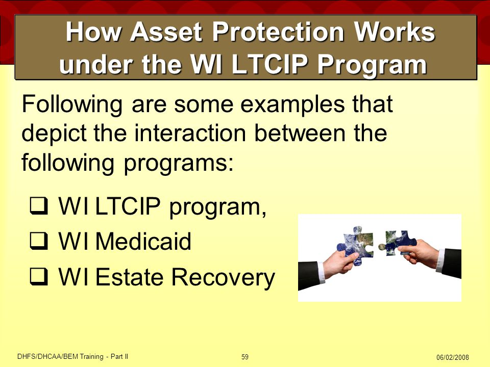 06/02/2008 DHFS/DHCAA/BEM Training - Part II 59 How Asset Protection Works under the WI LTCIP Program How Asset Protection Works under the WI LTCIP Program Following are some examples that depict the interaction between the following programs:  WI LTCIP program,  WI Medicaid  WI Estate Recovery