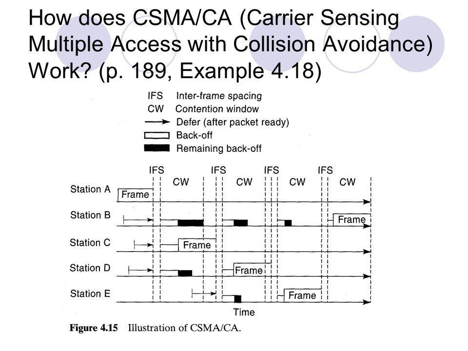 How does CSMA/CA (Carrier Sensing Multiple Access with Collision Avoidance) Work? (p. 189, Example 4.18)