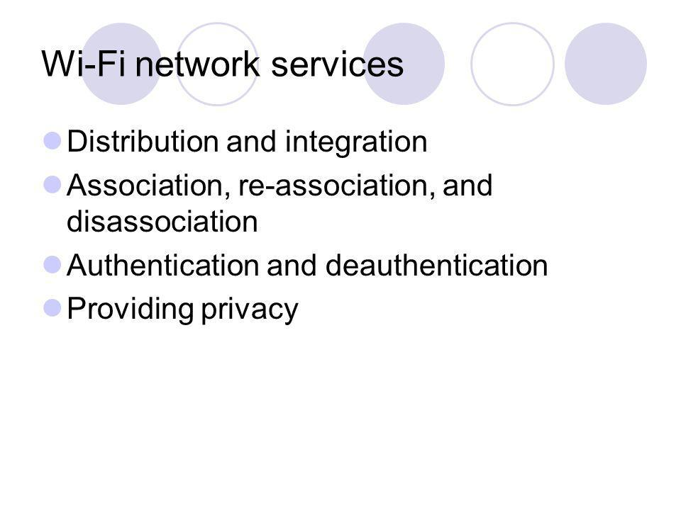 Wi-Fi network services Distribution and integration Association, re-association, and disassociation Authentication and deauthentication Providing priv