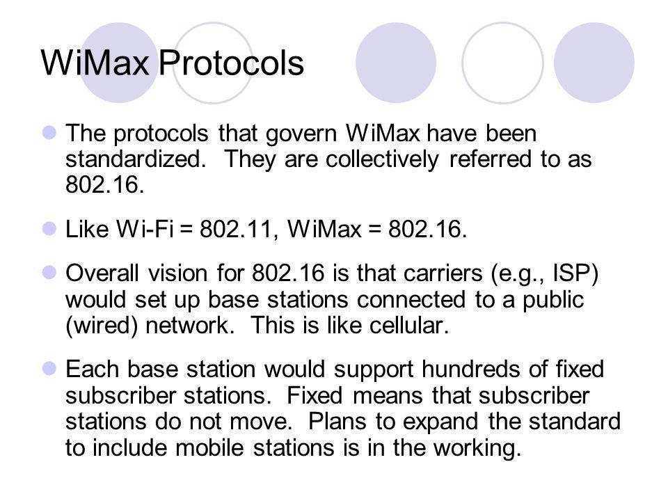WiMax Protocols The protocols that govern WiMax have been standardized. They are collectively referred to as 802.16. Like Wi-Fi = 802.11, WiMax = 802.