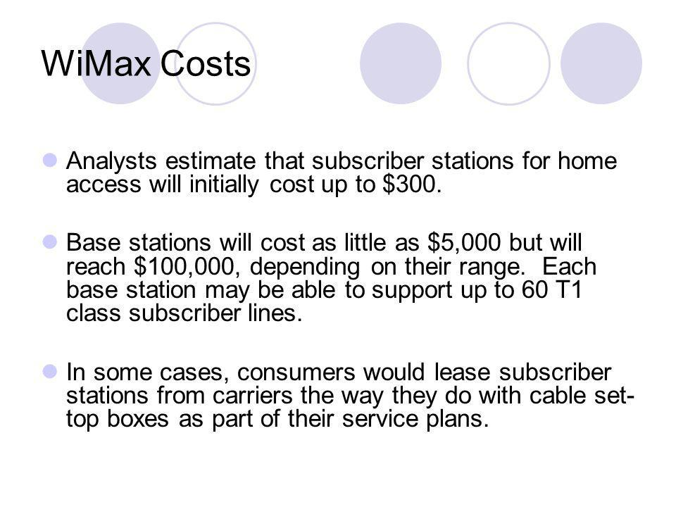 WiMax Costs Analysts estimate that subscriber stations for home access will initially cost up to $300. Base stations will cost as little as $5,000 but