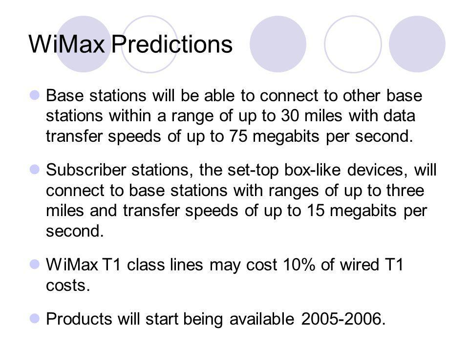 WiMax Predictions Base stations will be able to connect to other base stations within a range of up to 30 miles with data transfer speeds of up to 75