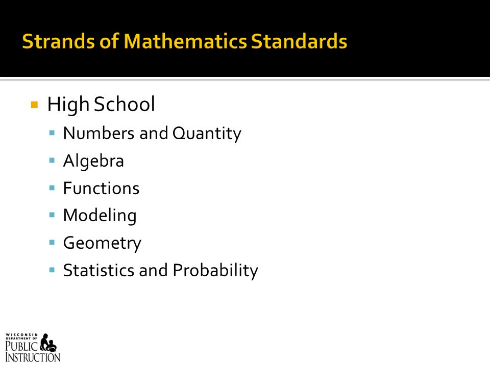  High School  Numbers and Quantity  Algebra  Functions  Modeling  Geometry  Statistics and Probability