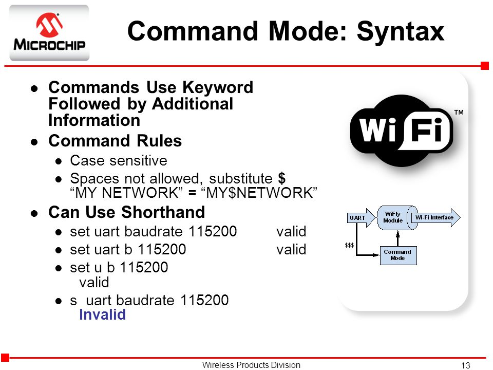 13 Wireless Products Division Command Mode: Syntax l Commands Use Keyword Followed by Additional Information l Command Rules l Case sensitive l Spaces not allowed, substitute $ MY NETWORK = MY$NETWORK l Can Use Shorthand l set uart baudrate 115200 valid l set uart b 115200 valid l set u b 115200 valid l s uart baudrate 115200 Invalid