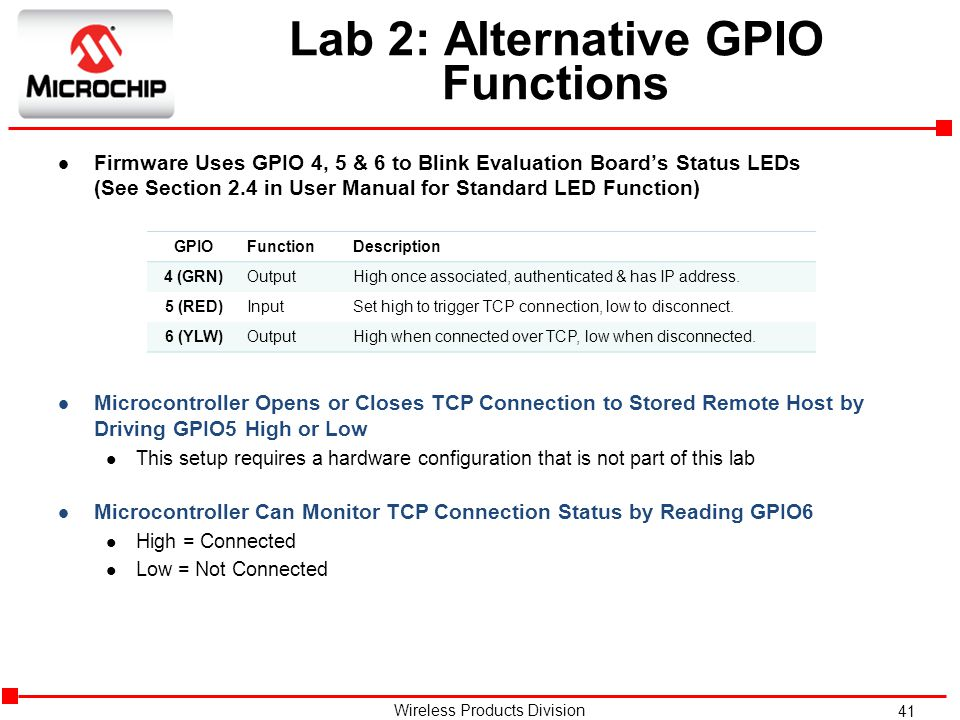 41 Wireless Products Division Lab 2: Alternative GPIO Functions l Firmware Uses GPIO 4, 5 & 6 to Blink Evaluation Board's Status LEDs (See Section 2.4 in User Manual for Standard LED Function) l Microcontroller Opens or Closes TCP Connection to Stored Remote Host by Driving GPIO5 High or Low l This setup requires a hardware configuration that is not part of this lab l Microcontroller Can Monitor TCP Connection Status by Reading GPIO6 l High = Connected l Low = Not Connected GPIOFunctionDescription 4 (GRN)OutputHigh once associated, authenticated & has IP address.