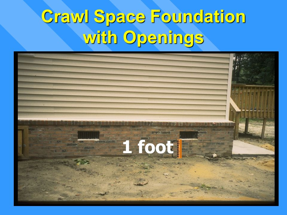 Lowest Floor Opening (typical) 1 foot Crawl Space Foundation with Openings