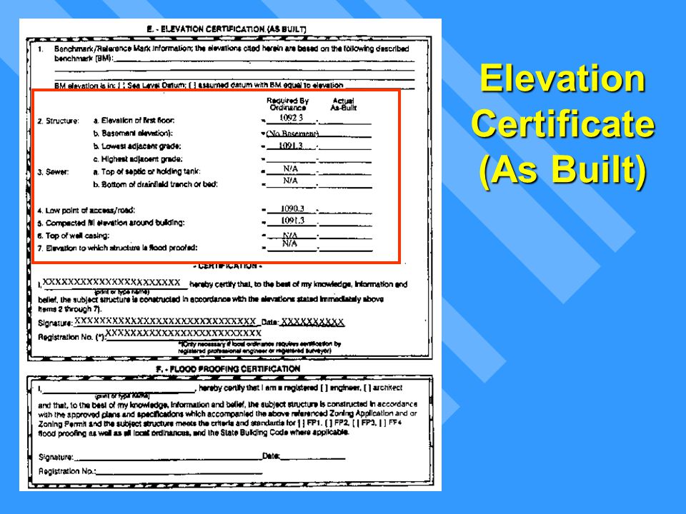Elevation Certificate (As Built)