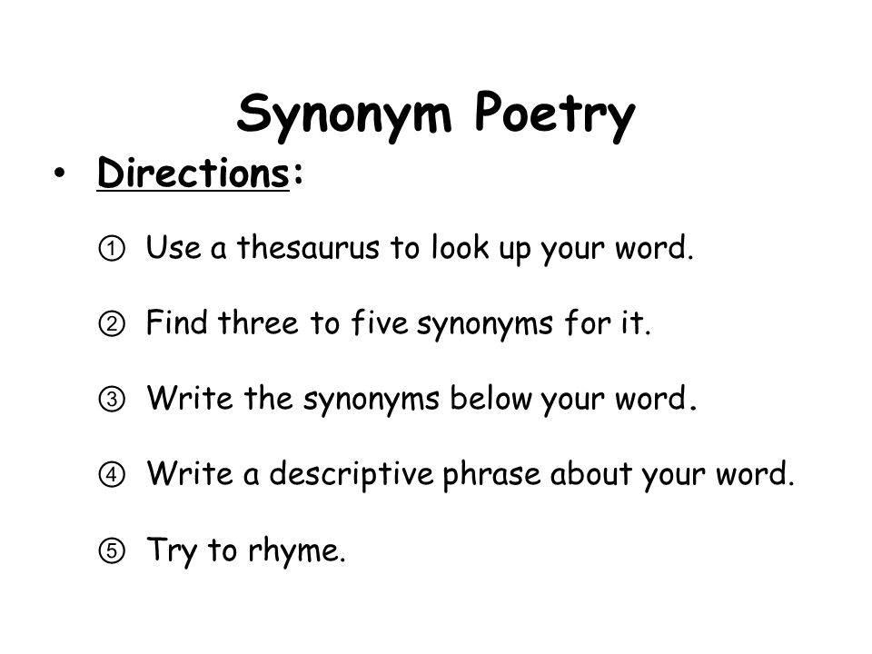 Synonym Poetry Student Examples LOVE Attachment, adoration, warmth, Adore.