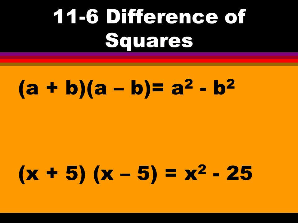 11-6 Special Factoring Patterns