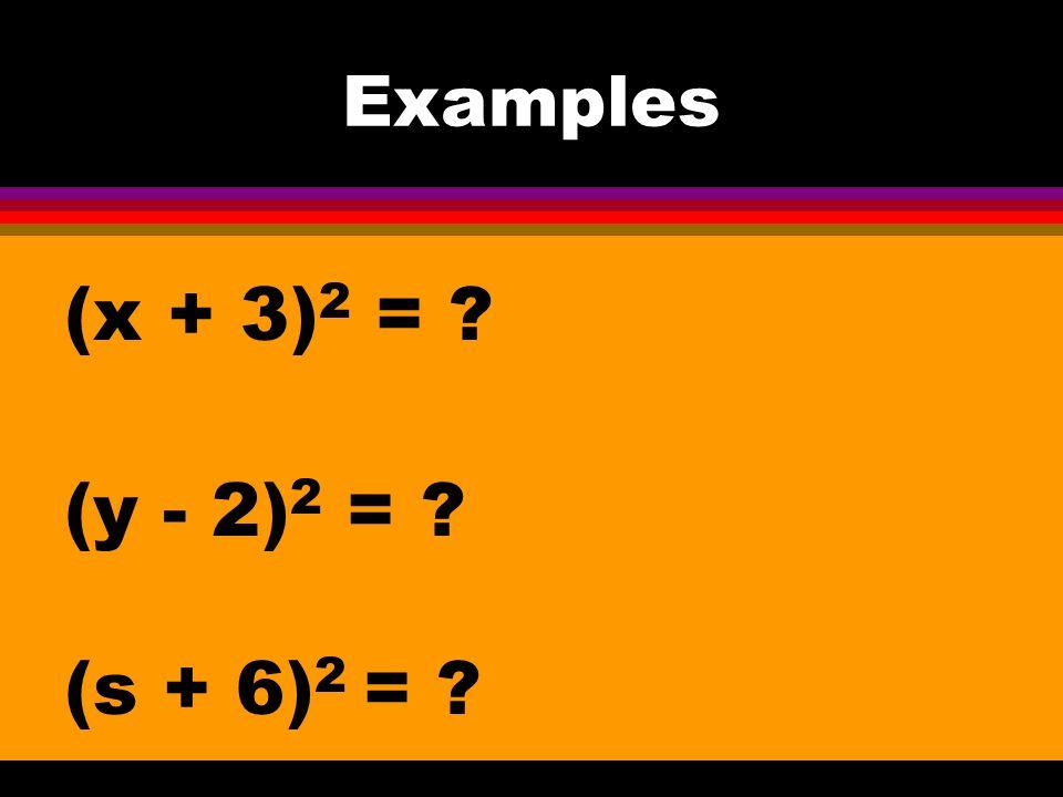 11-6 Squares of Binomials (a + b) 2 = a 2 + 2ab + b 2 (a - b) 2 = a 2 - 2ab + b 2 Also known as Perfect square trinomials