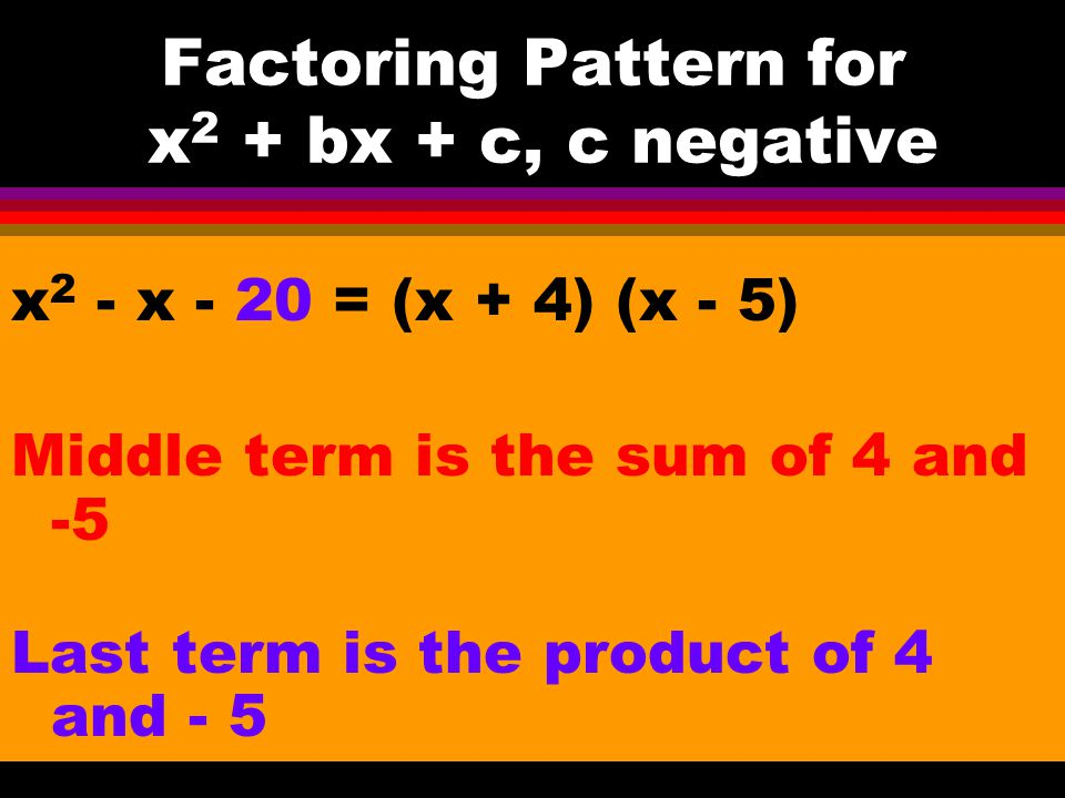 Example y 2 – 11y + 18 = (y - 2) (y - 9) Middle term is the sum of -2 and -9 Last term is the product of -2 and -9