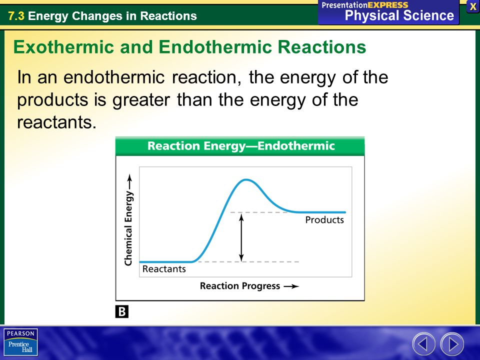7.3 Energy Changes in Reactions In an endothermic reaction, the energy of the products is greater than the energy of the reactants. Exothermic and End