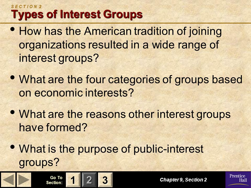 123 Go To Section: Types of Interest Groups S E C T I O N 2 Types of Interest Groups How has the American tradition of joining organizations resulted