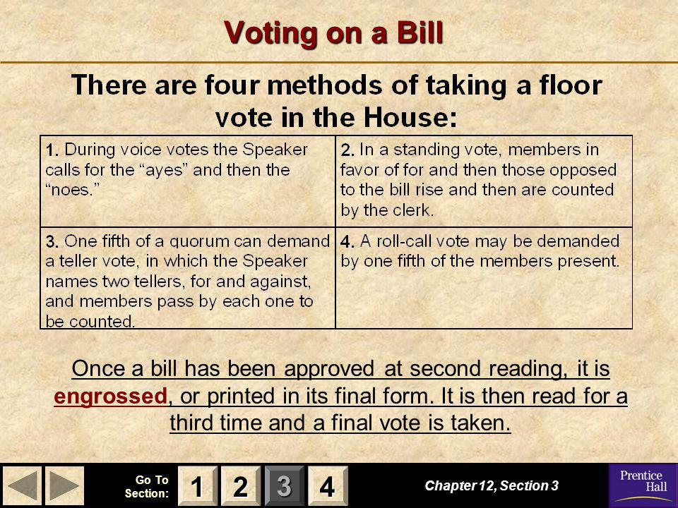 123 Go To Section: 4 Voting on a Bill Chapter 12, Section 3 2222 4444 1111 Once a bill has been approved at second reading, it is engrossed, or printe