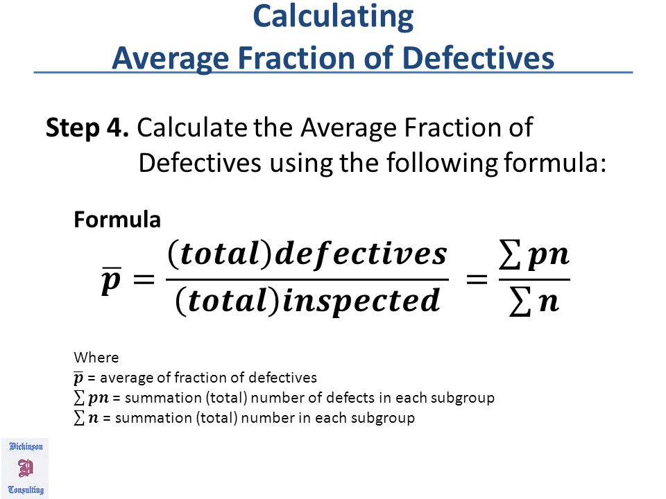Calculating Fraction of Defectives Step 3.
