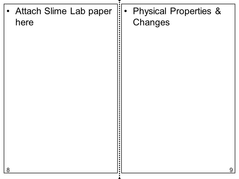 Attach Slime Lab paper here Physical Properties & Changes 98