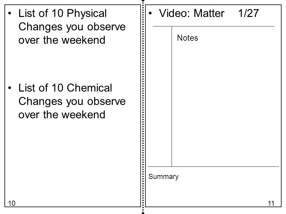 List of 10 Physical Changes you observe over the weekend List of 10 Chemical Changes you observe over the weekend Video: Matter 1/27 Notes Summary 1110