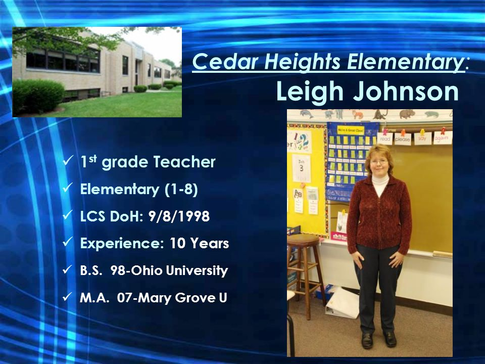 Cedar Heights Elementary : Leigh Johnson 1 st grade Teacher Elementary (1-8) LCS DoH: 9/8/1998 Experience: 10 Years B.S.