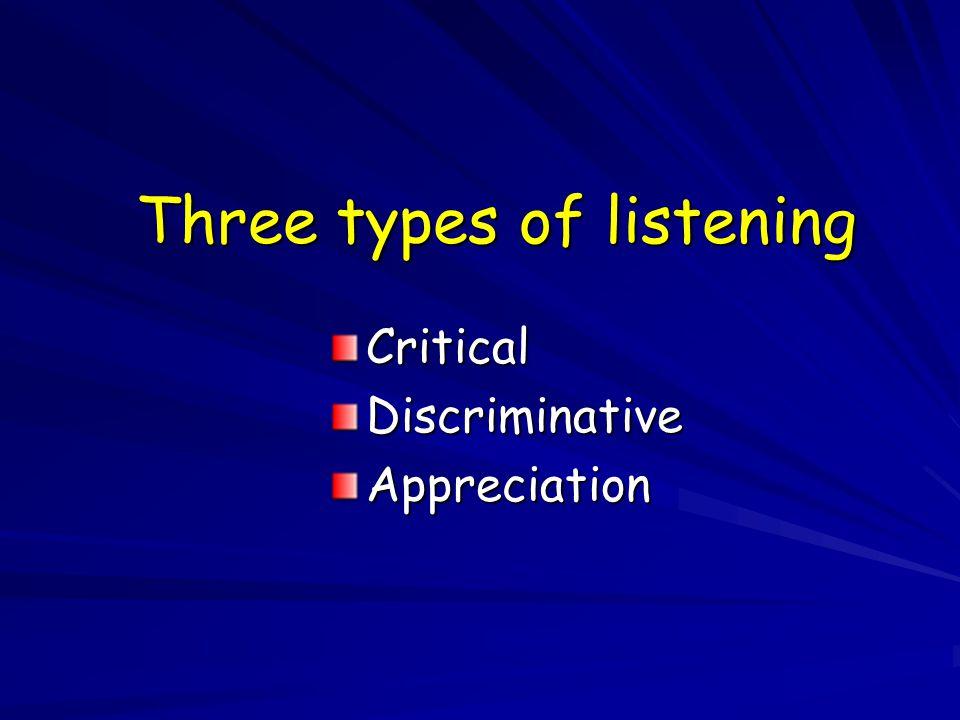 Three types of listening CriticalDiscriminativeAppreciation